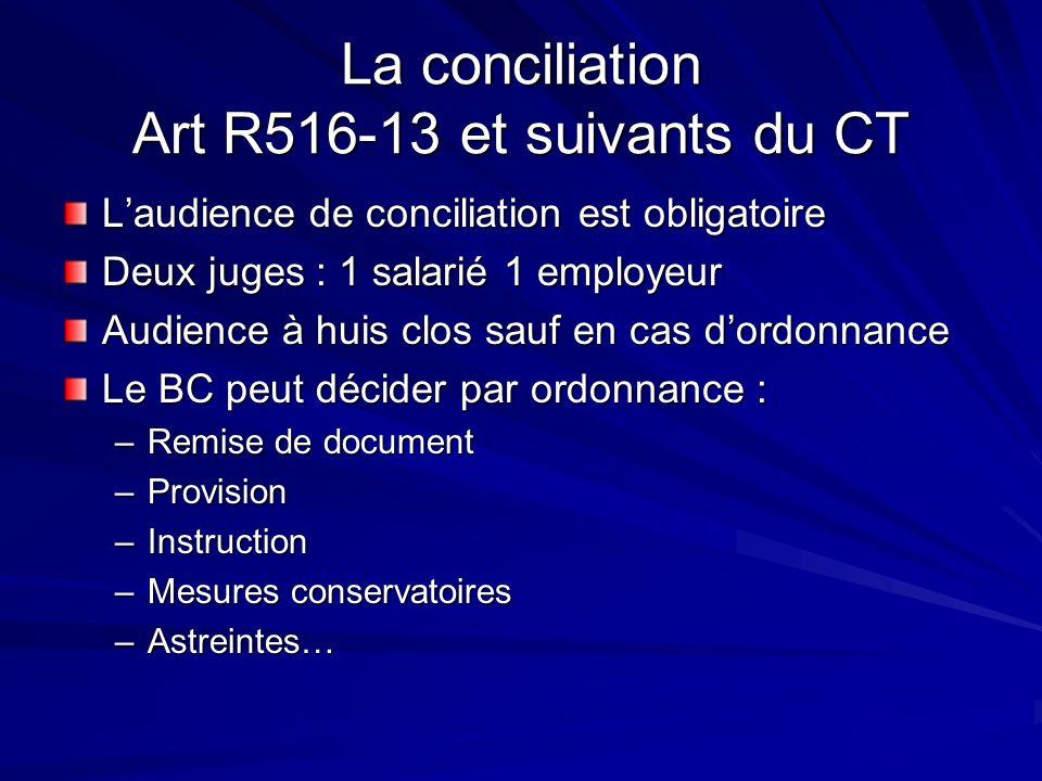La conciliation Art R516-13 et suivants du CT Laudience de conciliation est obligatoire Deux juges : 1 salarié 1 employeur Audience à huis clos sauf e