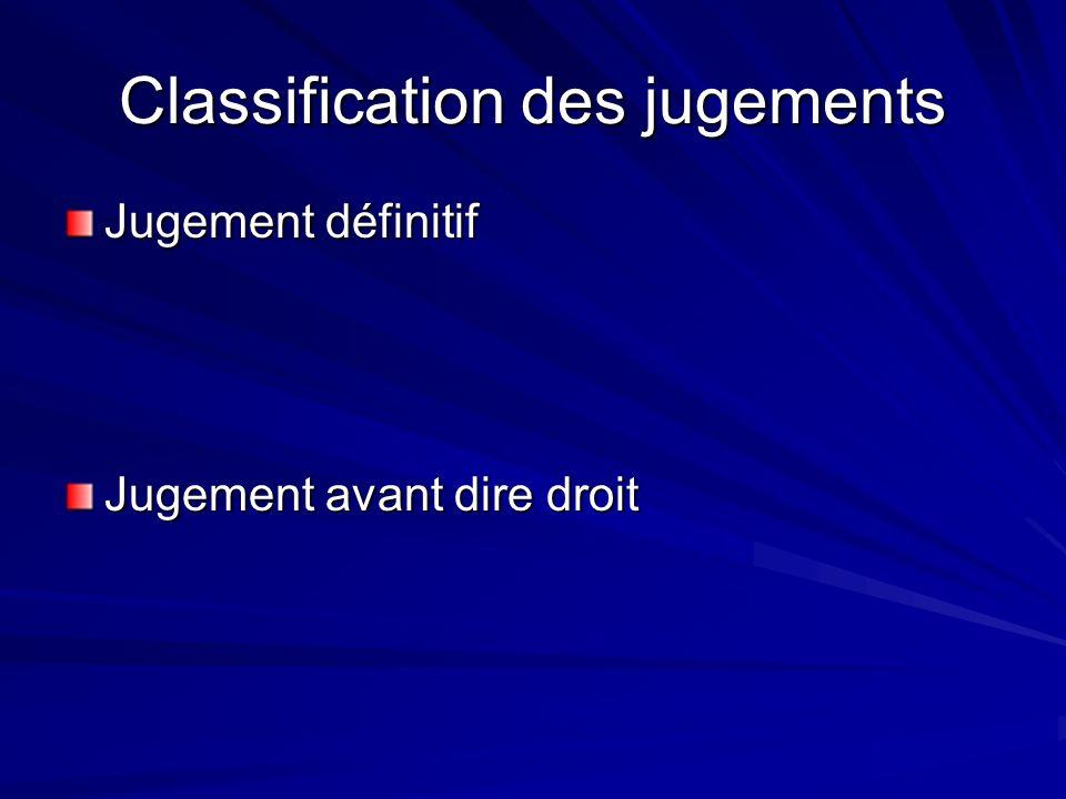 Classification des jugements Jugement définitif Jugement avant dire droit