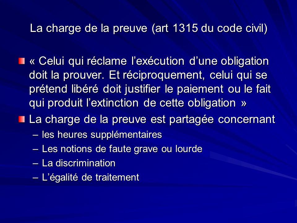 La charge de la preuve (art 1315 du code civil) « Celui qui réclame lexécution dune obligation doit la prouver. Et réciproquement, celui qui se préten