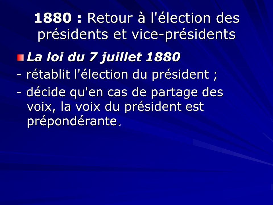 1880 : Retour à l'élection des présidents et vice-présidents La loi du 7 juillet 1880 - rétablit l'élection du président ; - décide qu'en cas de parta
