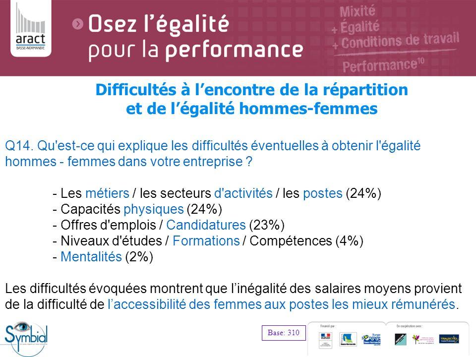 Q14. Qu'est-ce qui explique les difficultés éventuelles à obtenir l'égalité hommes - femmes dans votre entreprise ? - Les métiers / les secteurs d'act