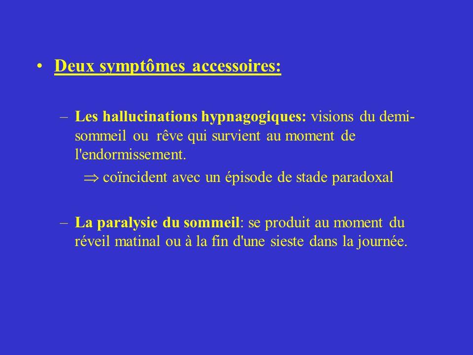 Deux symptômes accessoires: –Les hallucinations hypnagogiques: visions du demi- sommeil ou rêve qui survient au moment de l'endormissement. coïncident