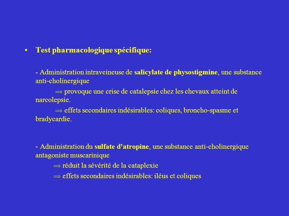 Test pharmacologique spécifique: - Administration intraveineuse de salicylate de physostigmine, une substance anti-cholinergique provoque une crise de