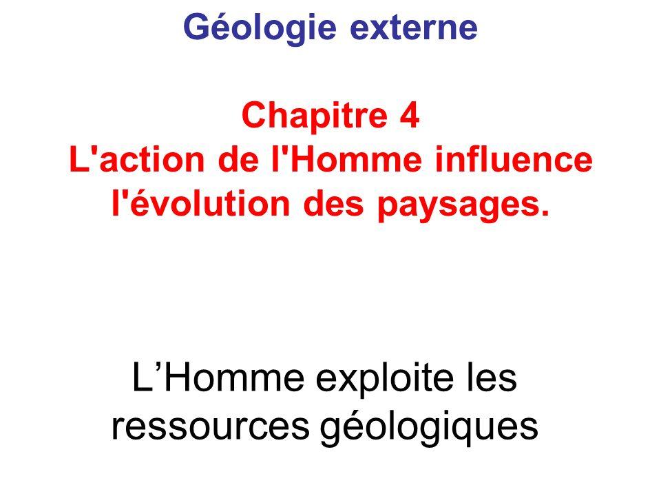 LHomme exploite les ressources géologiques Géologie externe Chapitre 4 L'action de l'Homme influence l'évolution des paysages.