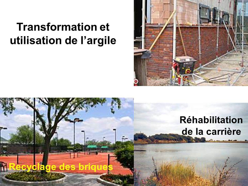 Réhabilitation de la carrière Recyclage des briques Transformation et utilisation de largile