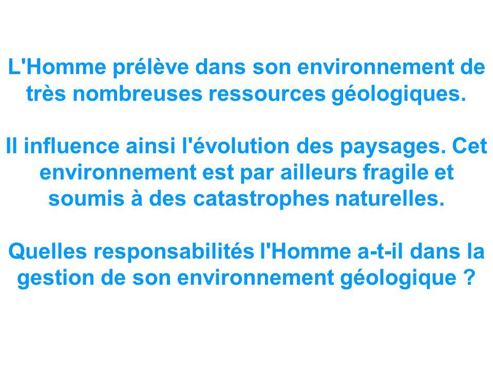 L'Homme prélève dans son environnement de très nombreuses ressources géologiques. Il influence ainsi l'évolution des paysages. Cet environnement est p