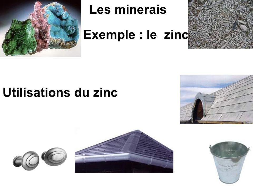 Utilisations du zinc Les minerais Exemple : le zinc