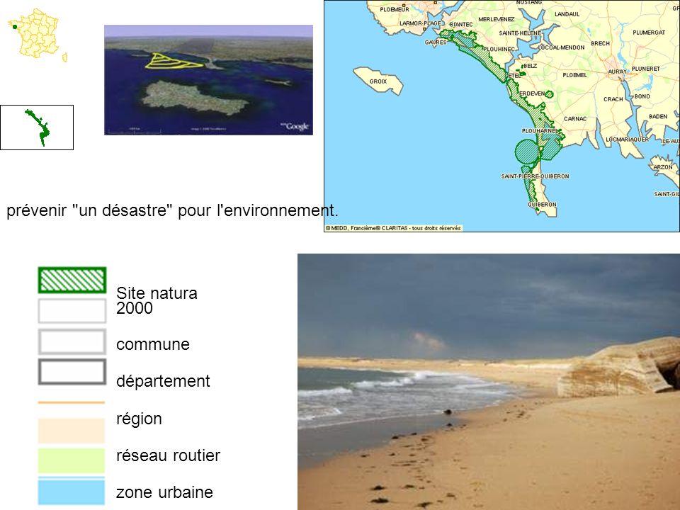 Site natura 2000 commune département région réseau routier zone urbaine zone boisée hydrographie prévenir