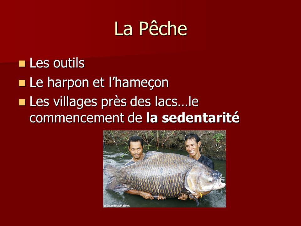 La Pêche Les outils Les outils Le harpon et lhameçon Le harpon et lhameçon Les villages près des lacs…le commencement de la sedentarité Les villages p