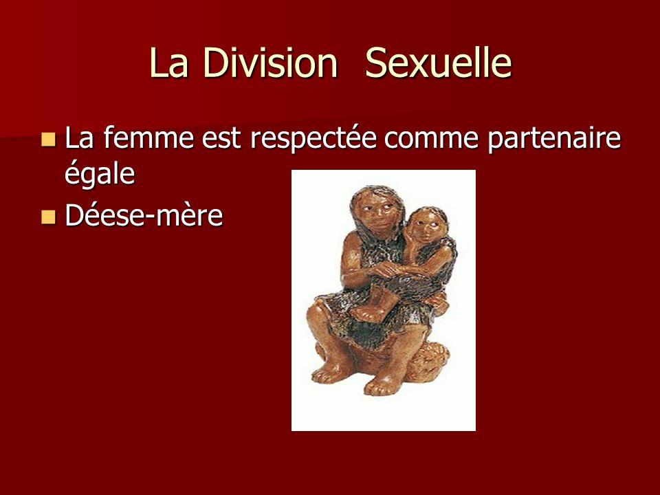 La Division Sexuelle La femme est respectée comme partenaire égale La femme est respectée comme partenaire égale Déese-mère Déese-mère