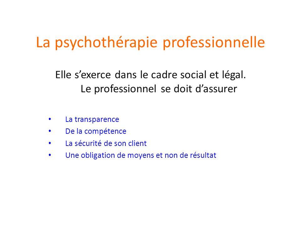 La psychothérapie professionnelle Elle sexerce dans le cadre social et légal.