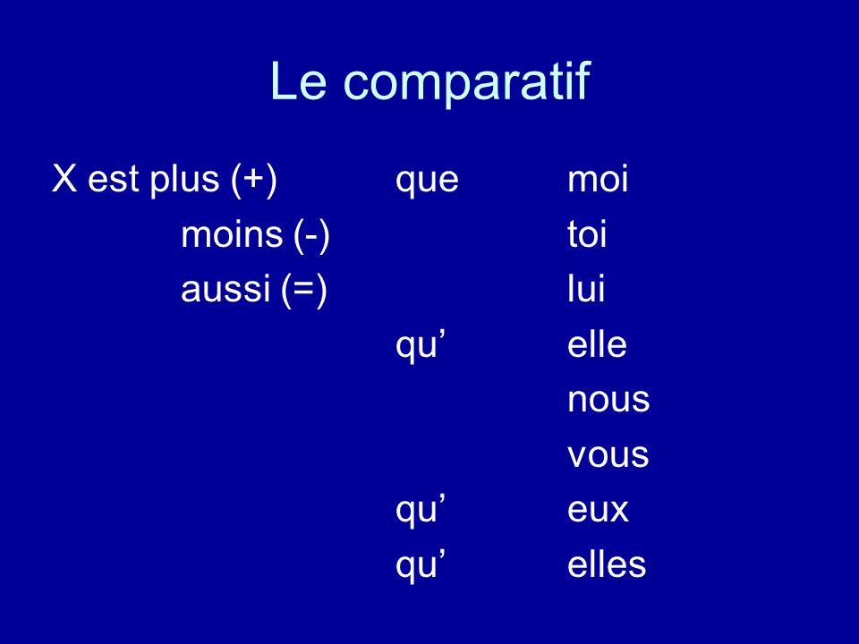 Le comparatif X est plus (+)quemoi moins (-)toi aussi (=)lui quelle nous vous queux quelles