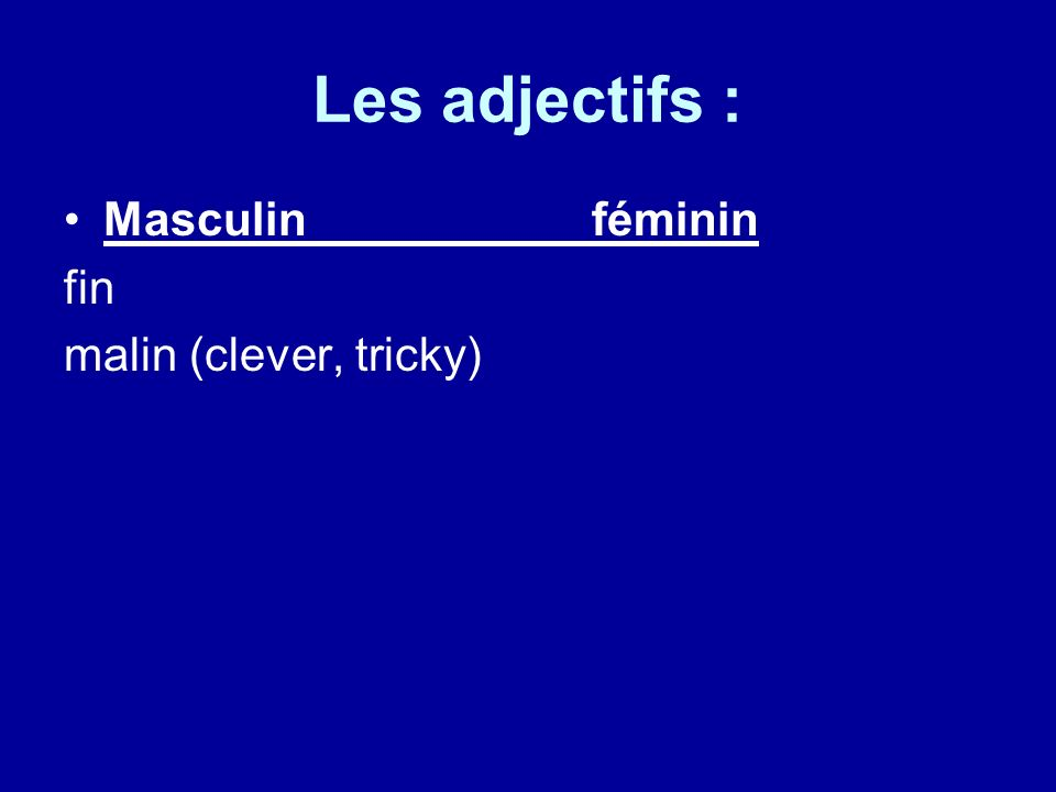 Les adjectifs : Masculinféminin fin malin (clever, tricky)