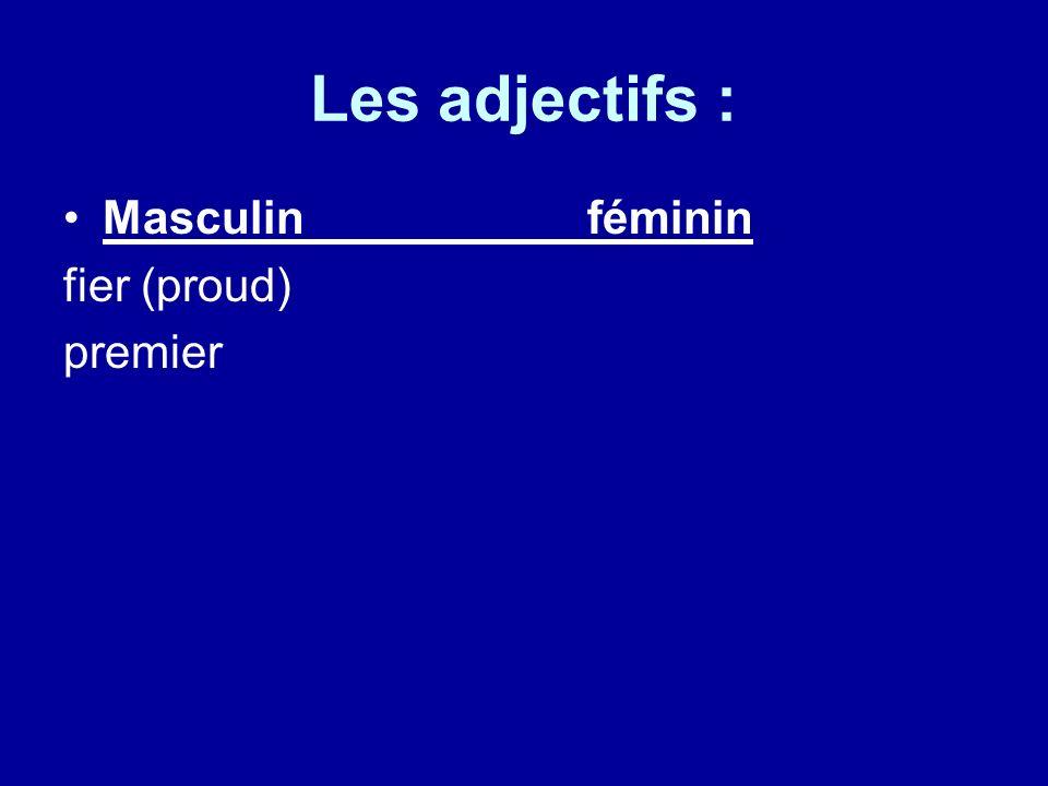 Les adjectifs : Masculinféminin fier (proud) premier