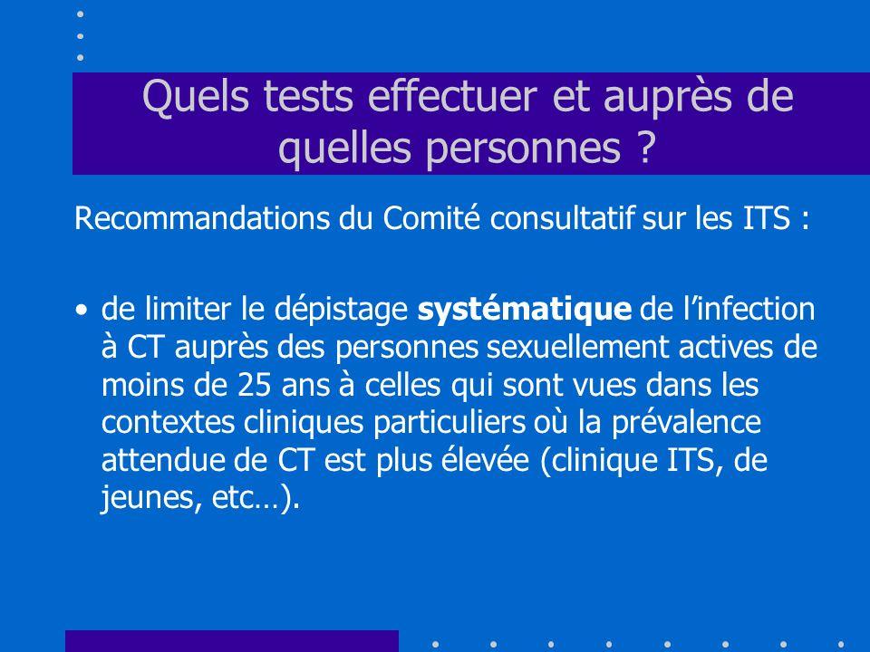Quels tests effectuer et auprès de quelles personnes ? Recommandations du Comité consultatif sur les ITS : de limiter le dépistage systématique de lin