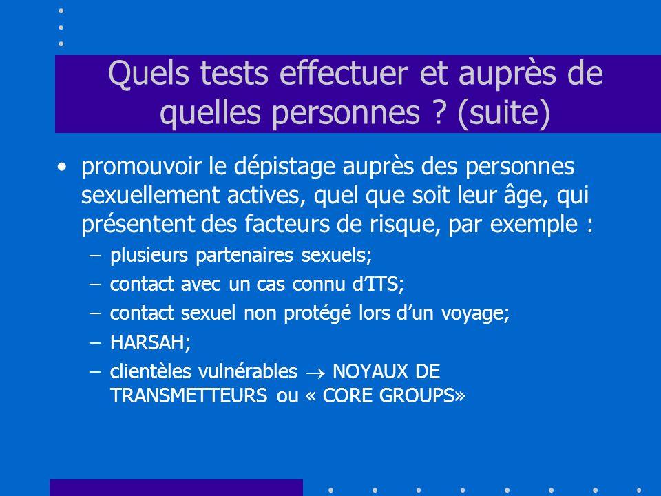 Quels tests effectuer et auprès de quelles personnes ? (suite) promouvoir le dépistage auprès des personnes sexuellement actives, quel que soit leur â