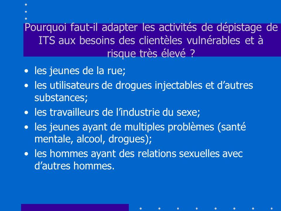 Pourquoi faut-il adapter les activités de dépistage de ITS aux besoins des clientèles vulnérables et à risque très élevé ? les jeunes de la rue; les u