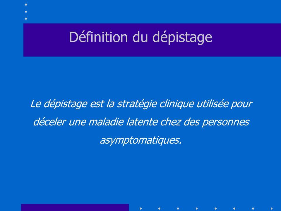 Définition du dépistage Le dépistage est la stratégie clinique utilisée pour déceler une maladie latente chez des personnes asymptomatiques.