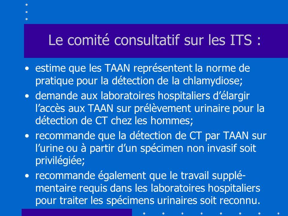 Le comité consultatif sur les ITS : estime que les TAAN représentent la norme de pratique pour la détection de la chlamydiose; demande aux laboratoire
