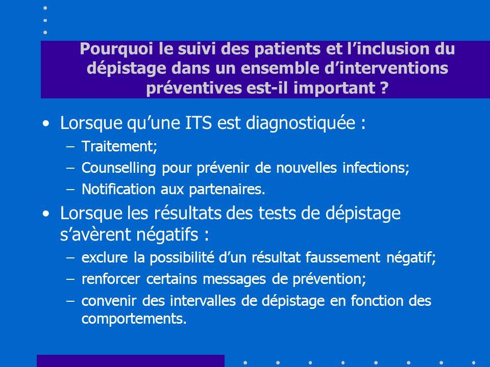 Pourquoi le suivi des patients et linclusion du dépistage dans un ensemble dinterventions préventives est-il important ? Lorsque quune ITS est diagnos