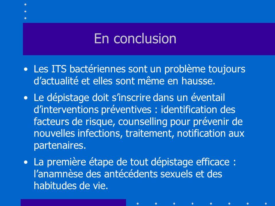 En conclusion Les ITS bactériennes sont un problème toujours dactualité et elles sont même en hausse. Le dépistage doit sinscrire dans un éventail din