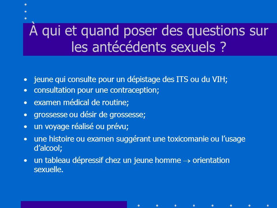 À qui et quand poser des questions sur les antécédents sexuels ? jeune qui consulte pour un dépistage des ITS ou du VIH; consultation pour une contrac