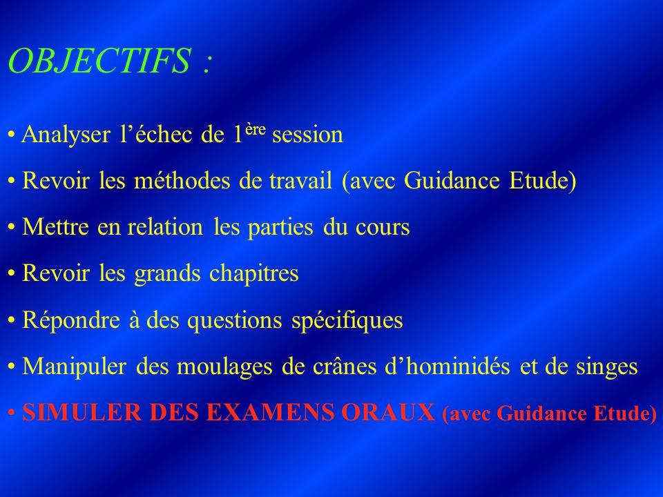 OBJECTIFS : Analyser léchec de 1 ère session Revoir les méthodes de travail (avec Guidance Etude) Mettre en relation les parties du cours Revoir les g