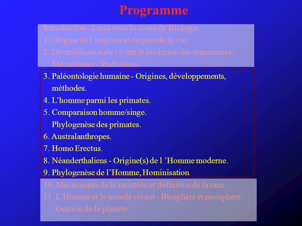 Programme Introduction - Liens avec le cours de Biologie. 1. Origine de l univers et origine de la vie. 2. Diversification du vivant et évolution des