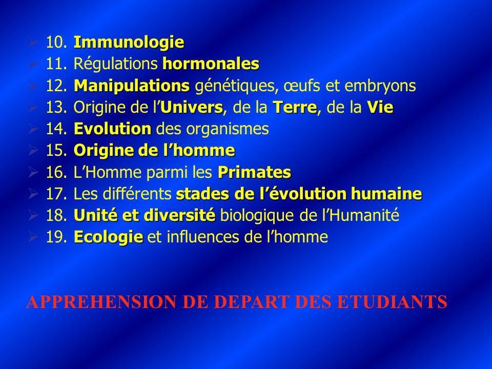 Immunologie 10. Immunologie hormonales 11. Régulations hormonales Manipulations 12. Manipulations génétiques, œufs et embryons UniversTerreVie 13. Ori