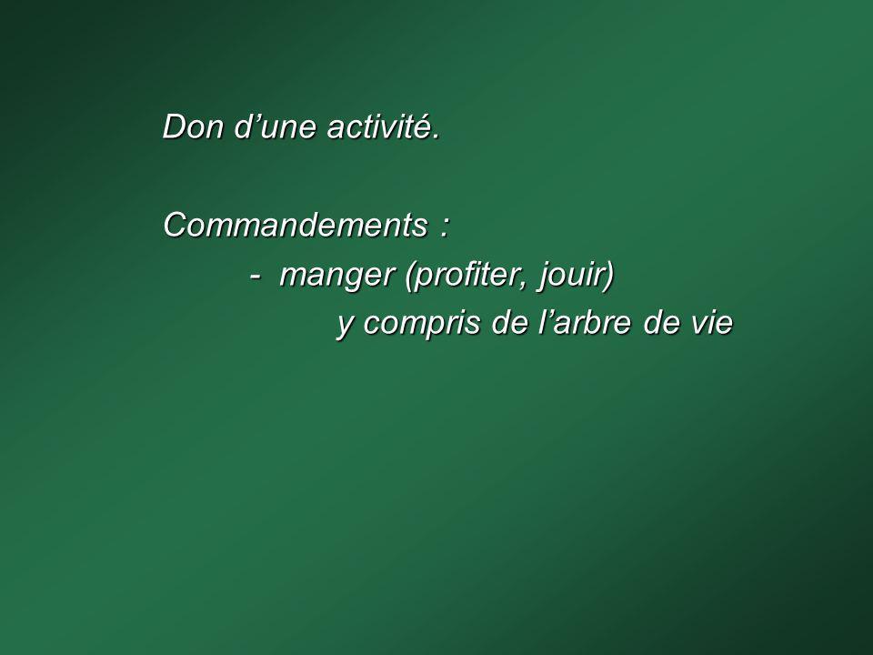 Don dune activité. Commandements : - manger (profiter, jouir) y compris de larbre de vie