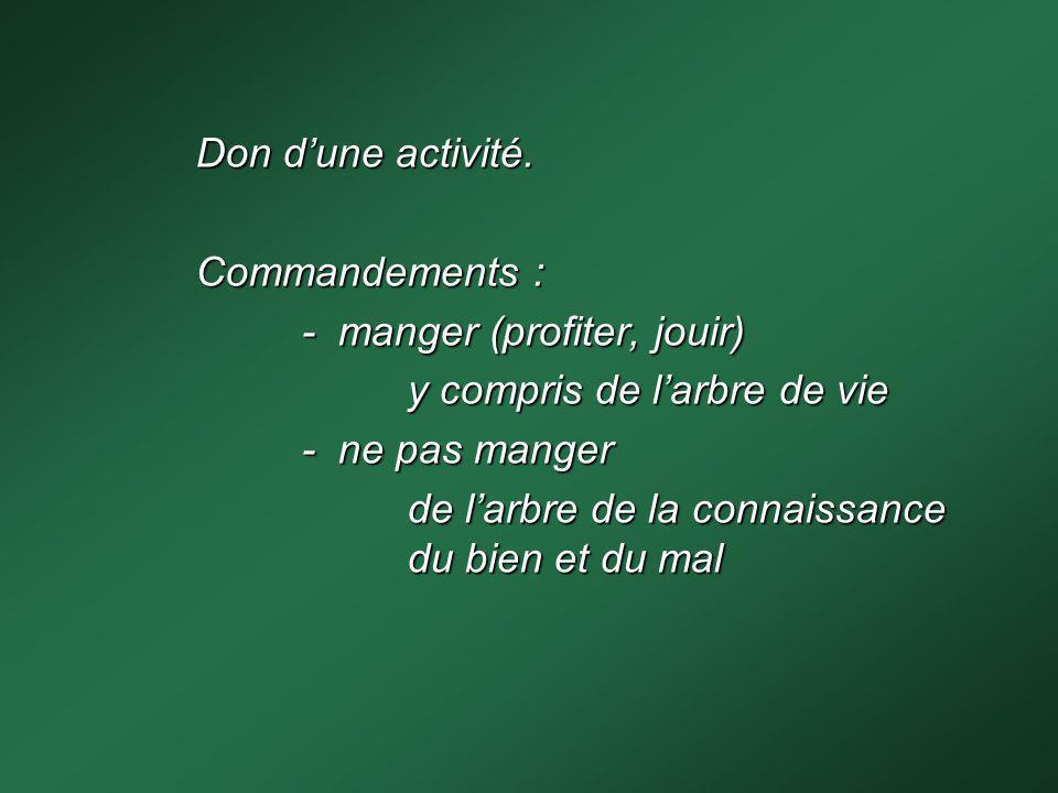 Don dune activité. Commandements : - manger (profiter, jouir) y compris de larbre de vie - ne pas manger de larbre de la connaissance du bien et du ma