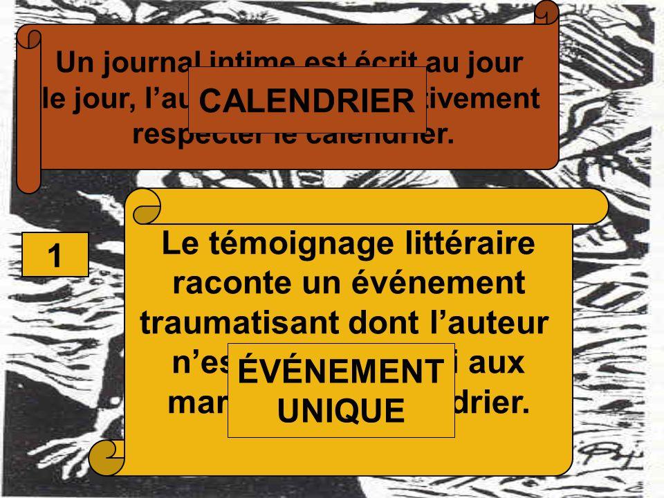 Un journal intime est écrit au jour le jour, lauteur doit impérativement respecter le calendrier. 1 Le témoignage littéraire raconte un événement trau