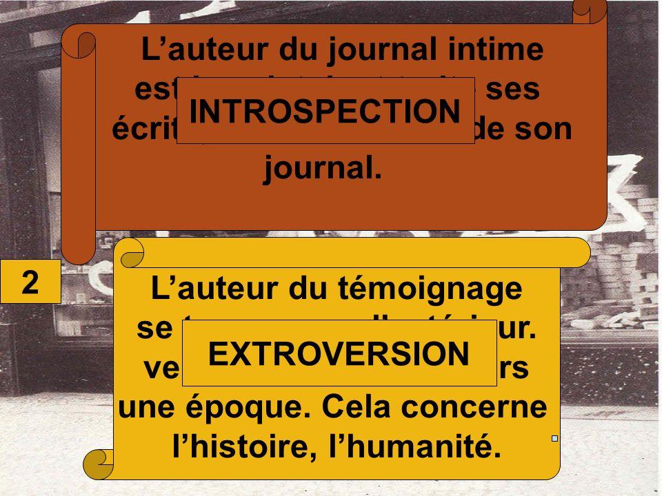 2 Lauteur du journal intime est le sujet dont traite ses écrits, il est la matière de son journal. Lauteur du témoignage se tourne vers lextérieur. ve