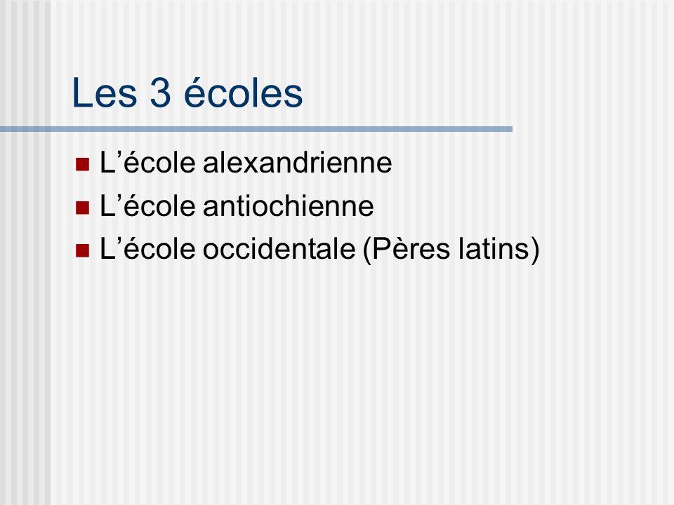 Les 3 écoles Lécole alexandrienne Lécole antiochienne Lécole occidentale (Pères latins)