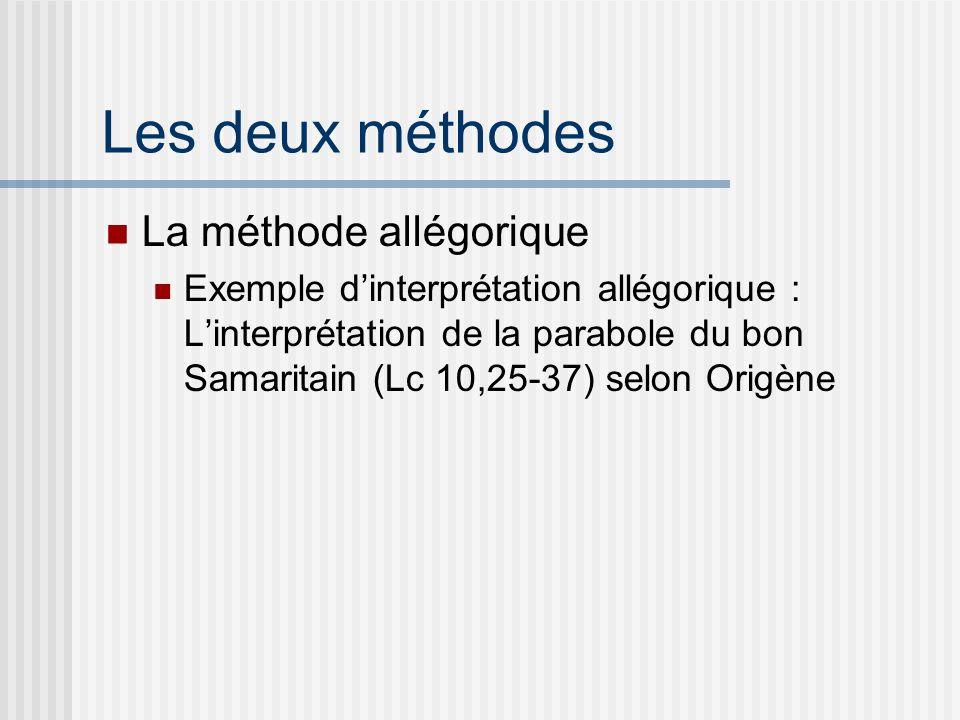 Les deux méthodes La méthode allégorique Exemple dinterprétation allégorique : Linterprétation de la parabole du bon Samaritain (Lc 10,25-37) selon Origène