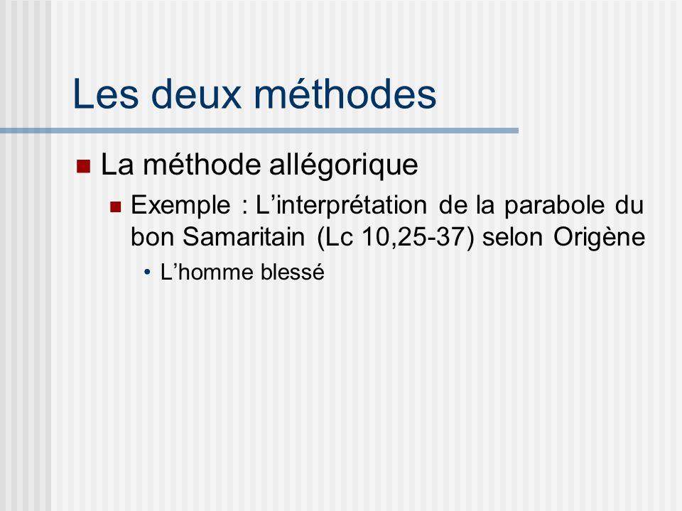 Les deux méthodes La méthode allégorique Exemple : Linterprétation de la parabole du bon Samaritain (Lc 10,25-37) selon Origène Lhomme blessé