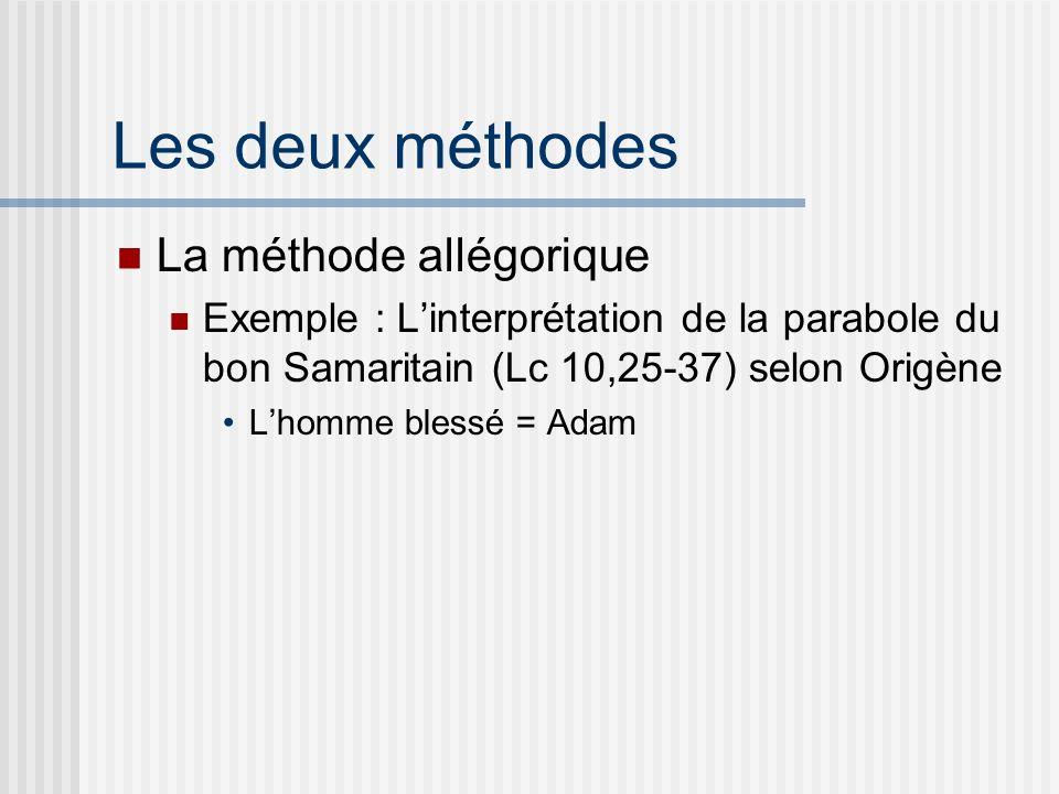 Les deux méthodes La méthode allégorique Exemple : Linterprétation de la parabole du bon Samaritain (Lc 10,25-37) selon Origène Lhomme blessé = Adam
