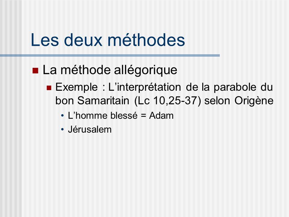 Les deux méthodes La méthode allégorique Exemple : Linterprétation de la parabole du bon Samaritain (Lc 10,25-37) selon Origène Lhomme blessé = Adam Jérusalem