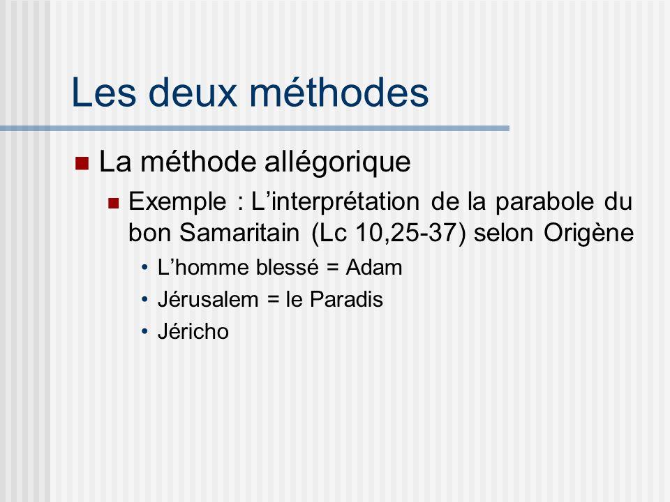 Les deux méthodes La méthode allégorique Exemple : Linterprétation de la parabole du bon Samaritain (Lc 10,25-37) selon Origène Lhomme blessé = Adam Jérusalem = le Paradis Jéricho