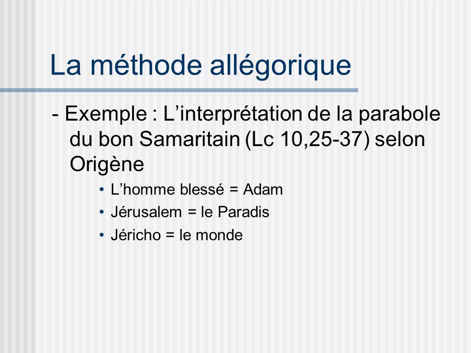 La méthode allégorique - Exemple : Linterprétation de la parabole du bon Samaritain (Lc 10,25-37) selon Origène Lhomme blessé = Adam Jérusalem = le Paradis Jéricho = le monde