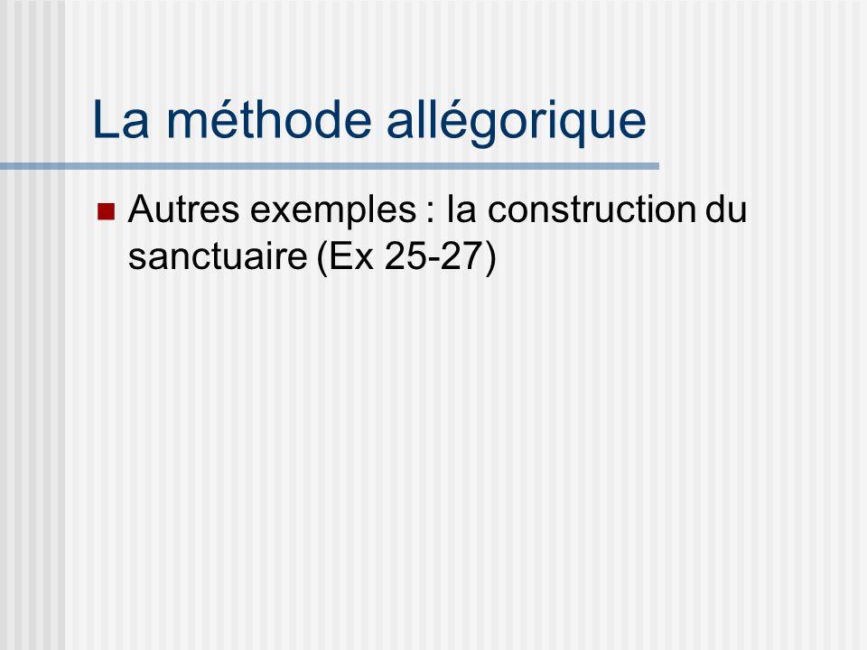 La méthode allégorique Autres exemples : la construction du sanctuaire (Ex 25-27)