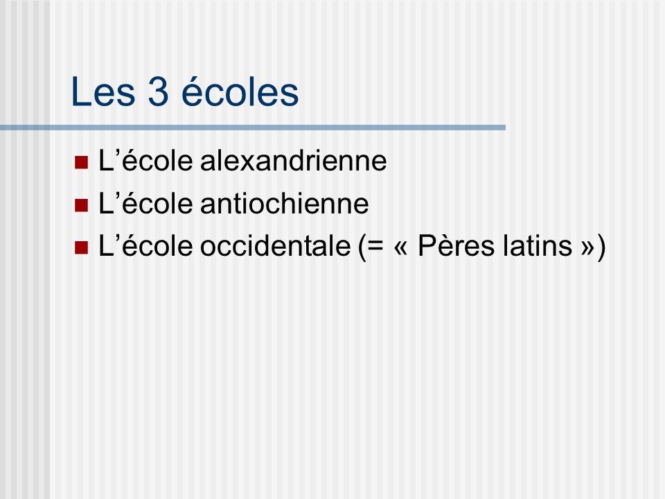 Les 3 écoles Lécole alexandrienne Lécole antiochienne Lécole occidentale (= « Pères latins »)