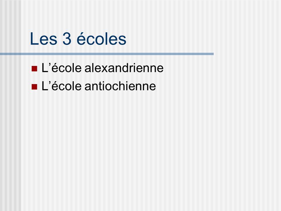 Les 3 écoles Lécole alexandrienne Lécole antiochienne