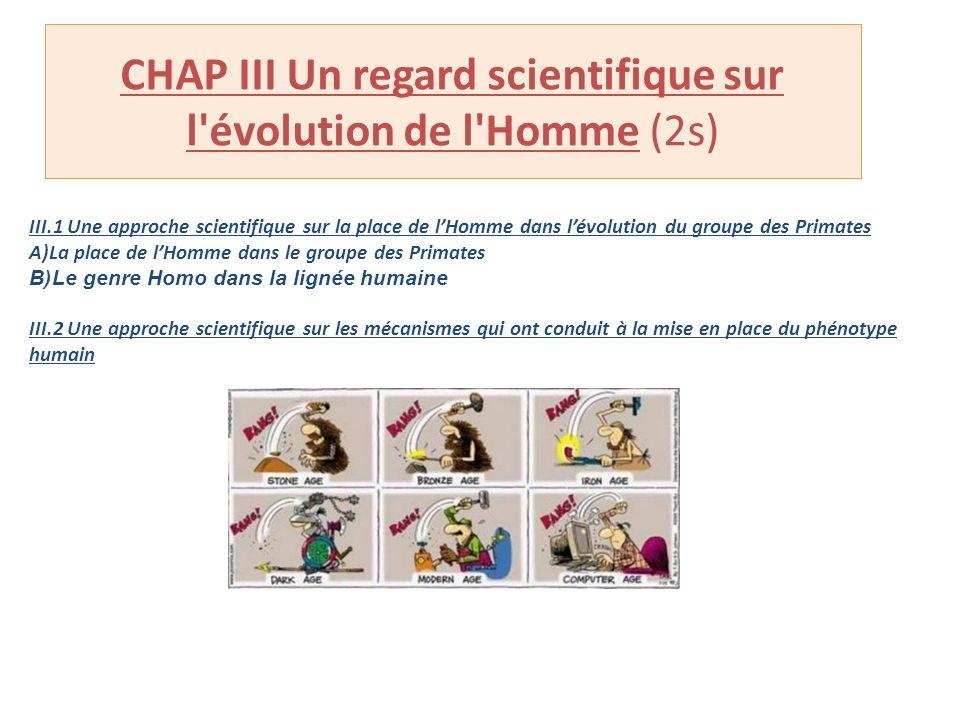 CHAP III Un regard scientifique sur l'évolution de l'Homme (2s) III.1 Une approche scientifique sur la place de lHomme dans lévolution du groupe des P