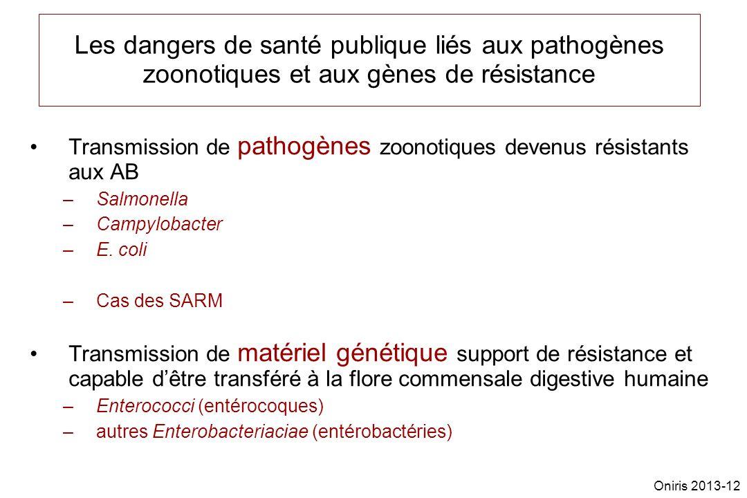 Les dangers de santé publique liés aux pathogènes zoonotiques et aux gènes de résistance Transmission de pathogènes zoonotiques devenus résistants aux