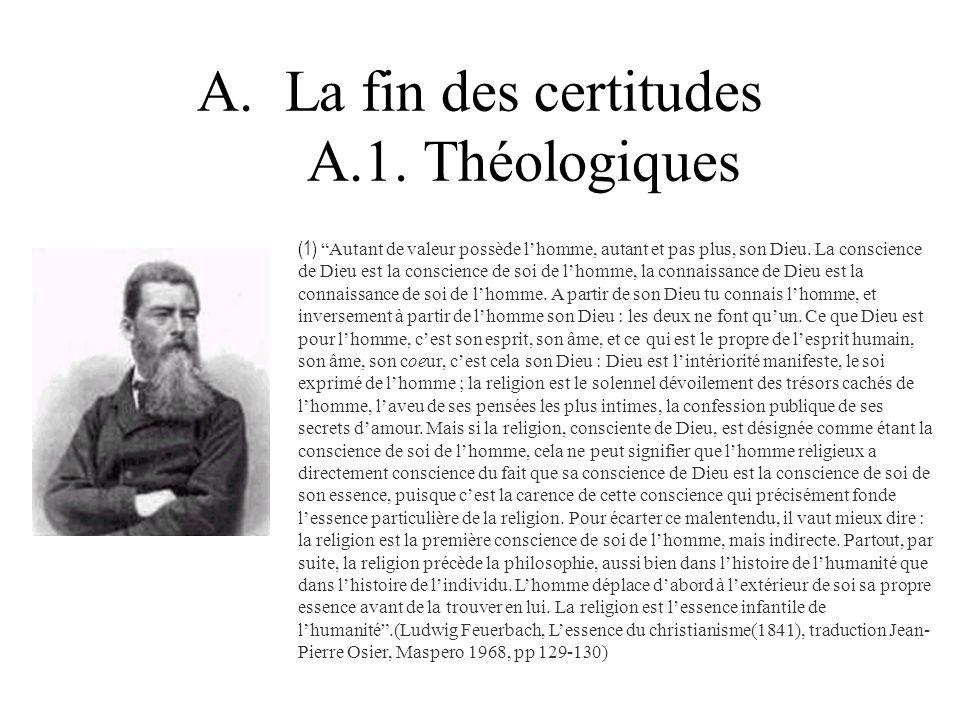 A.La fin des certitudes A.1. Théologiques (1) Autant de valeur possède lhomme, autant et pas plus, son Dieu. La conscience de Dieu est la conscience d