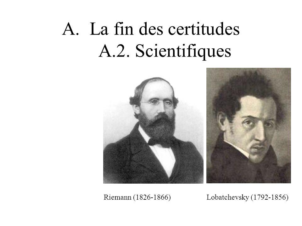 A.La fin des certitudes A.2. Scientifiques Riemann (1826-1866) Lobatchevsky (1792-1856)