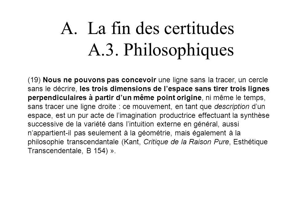 A.La fin des certitudes A.3. Philosophiques (19) Nous ne pouvons pas concevoir une ligne sans la tracer, un cercle sans le décrire, les trois dimensio