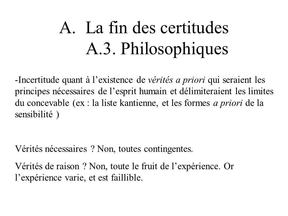 A.La fin des certitudes A.3. Philosophiques -Incertitude quant à lexistence de vérités a priori qui seraient les principes nécessaires de lesprit huma