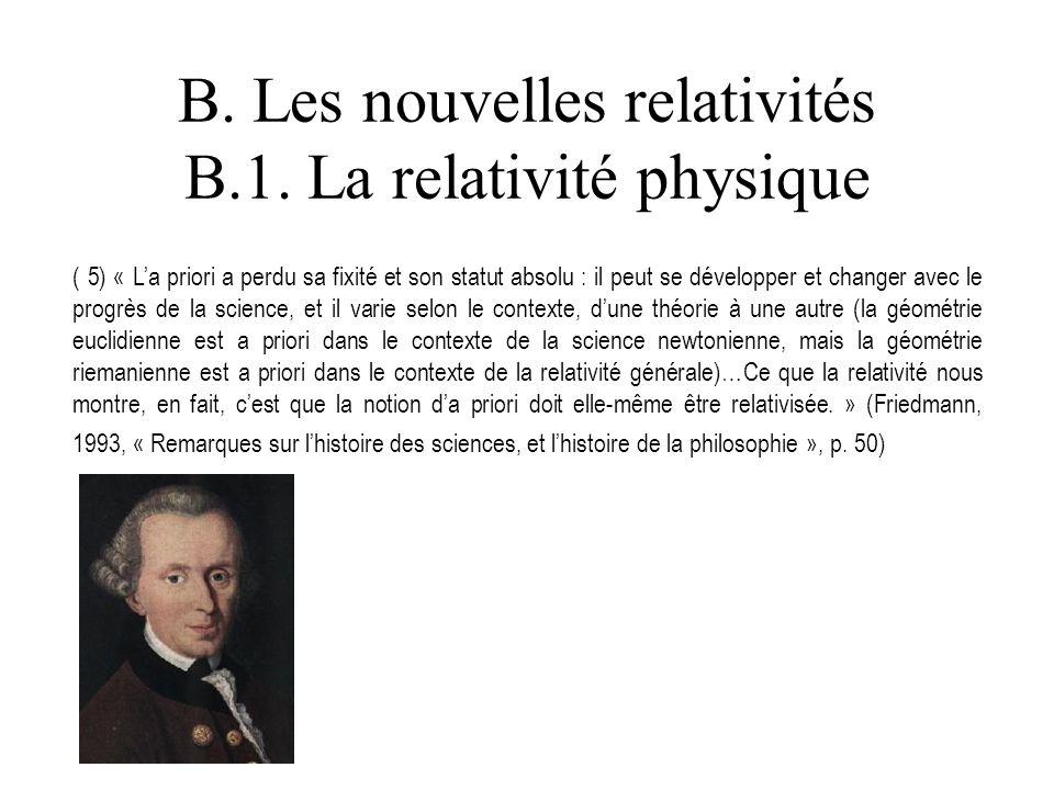 B. Les nouvelles relativités B.1. La relativité physique ( 5) « La priori a perdu sa fixité et son statut absolu : il peut se développer et changer av